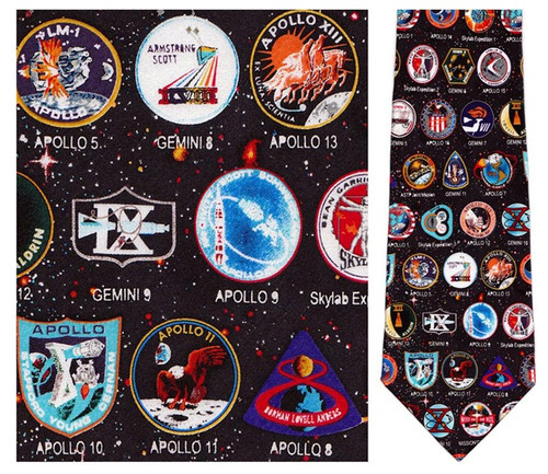 Early Space Mission Badges - NASA Necktie - Museum Store Company Photo