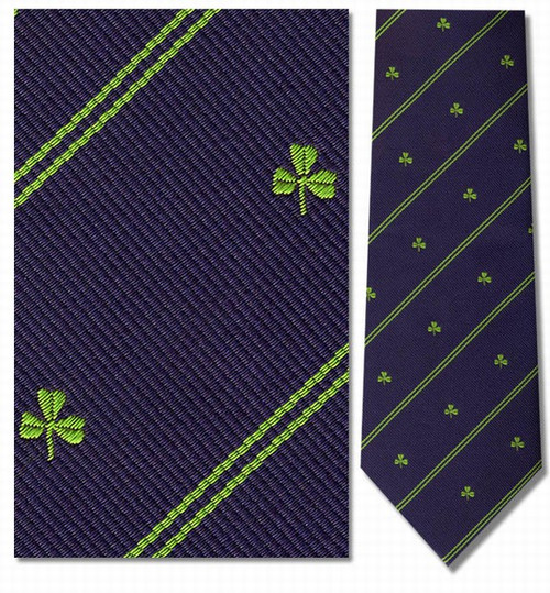 Shamrock Stripe Repp, St. Patricks Necktie - Museum Store Company Photo