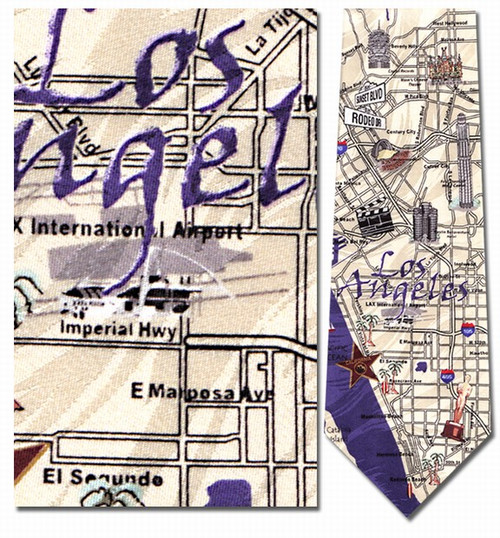 Los Angeles Sites & Map Necktie - Museum Store Company Photo