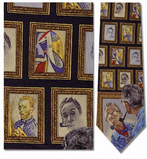 Norman Rockwell --Triple Self-Portrait Necktie - Museum Store Company Photo