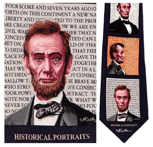 Abe Lincoln Portraits - Mort Kunstler Necktie - Museum Store Company Photo