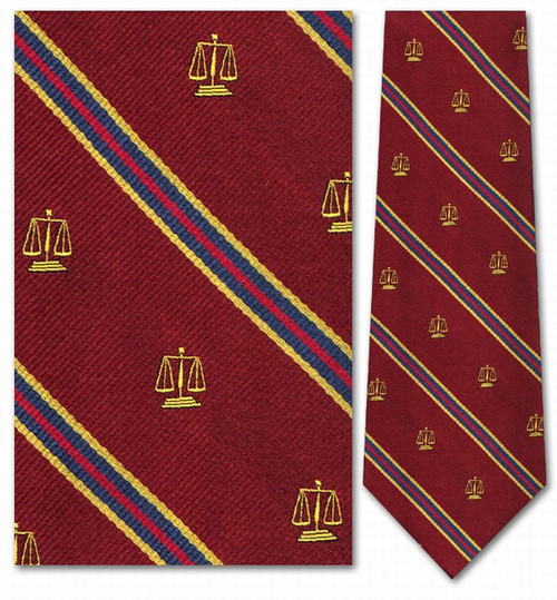 Legal Scales: Burgundy, Gold, Red Necktie - Museum Store Company Photo