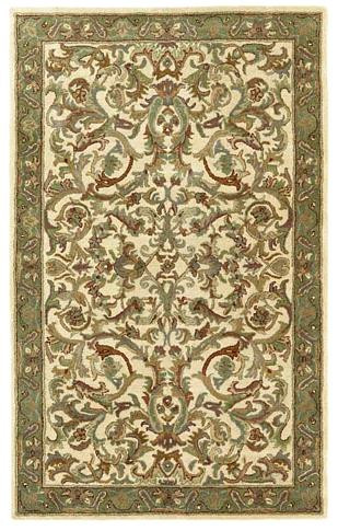 Empire - Ivory / Green Rug : Persian Tufted Collection - Photo Museum Store Company