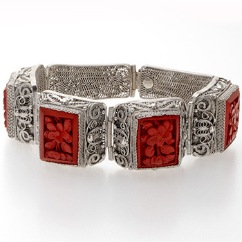 Chinese Cinnabar Filigree Bracelet - Museum Shop Collection - Museum Company Photo