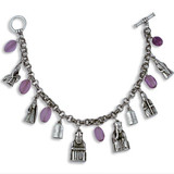 Lewis Chessmen charm Bracelet, with amethyst - Museum Shop Collection - Museum Company Photo