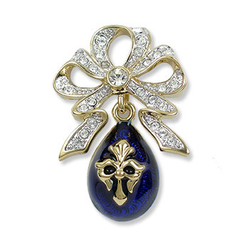 Imperial Bow with Blue Fleur Egg Brooch - Museum Shop Collection - Museum Company Photo