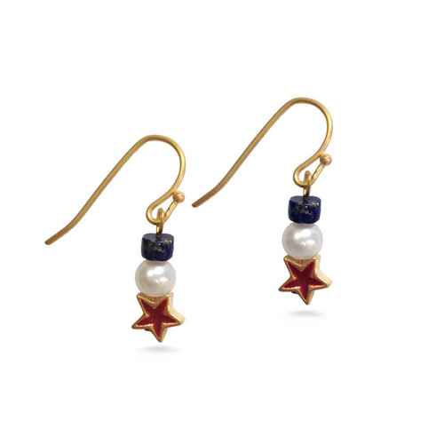 Red Star & Pearl Earrings with lapis - Museum Shop Collection - Museum Company Photo