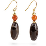 Mesopotamian Banded Agate & Carnelian Earring - Museum Shop Collection - Museum Company Photo