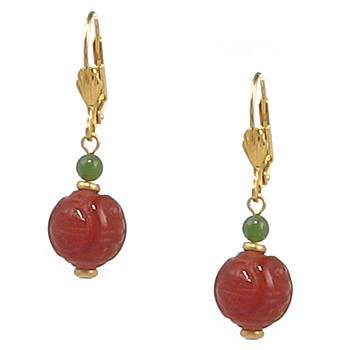 Jade and Carnelian Longevity Earrings - Museum Shop Collection - Museum Company Photo