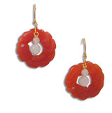 Carved Carnelian Hoop Earring with Jade - Museum Shop Collection - Museum Company Photo