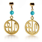 Round Cartouche Earrings w/turquoise - Museum Shop Collection - Museum Company Photo