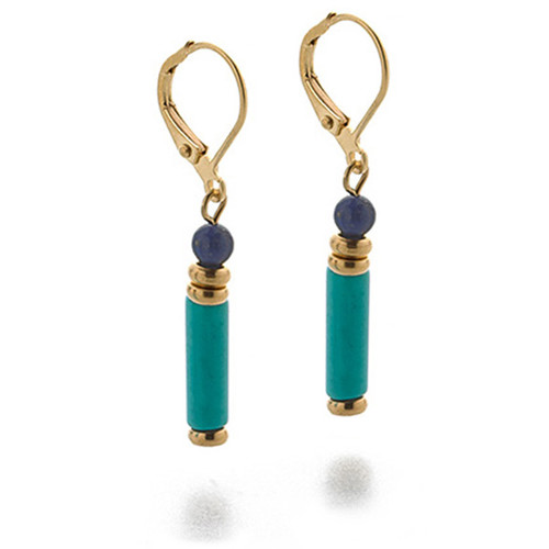 Egyptian Turquoise and Lapis Drop Earrings - Museum Shop Collection - Museum Company Photo