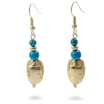 Scarab & Turquoise Earrings - Museum Shop Collection - Museum Company Photo