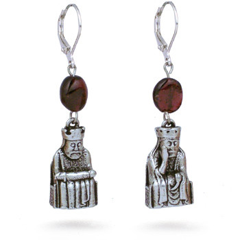 Lewis Chessmen King and Queen earrings, with garnet - Museum Shop Collection - Museum Company Photo