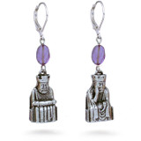 Lewis Chessmen King and Queen earrings, with amethyst - Museum Shop Collection - Museum Company Photo