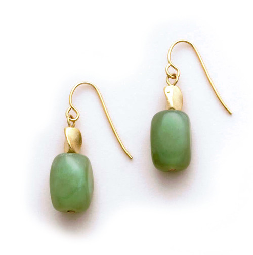 Twist Bead and Apple Jade Earrings - Museum Shop Collection - Museum Company Photo