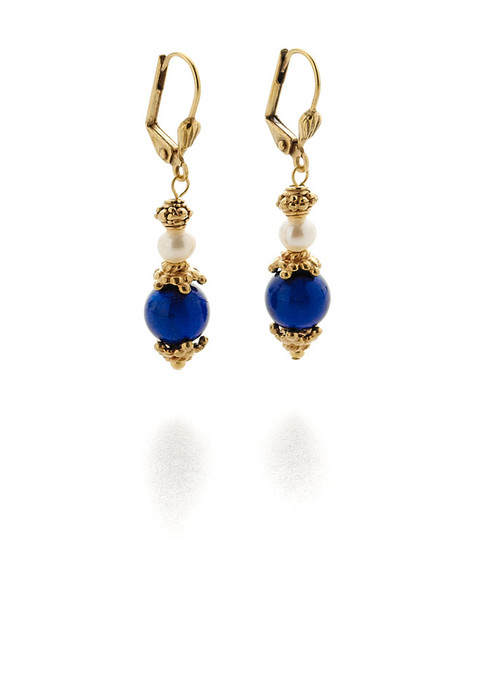Bukhara Lapis and Pearl Earrings - Museum Shop Collection - Museum Company Photo