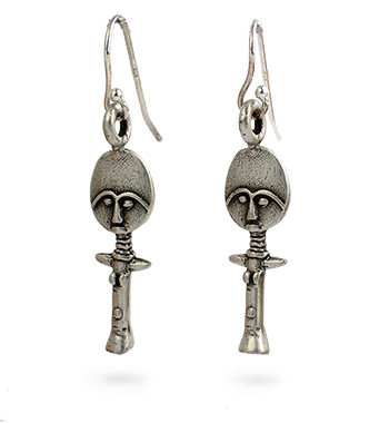 Akuaba Doll Earrings, silver finish - Museum Shop Collection - Museum Company Photo