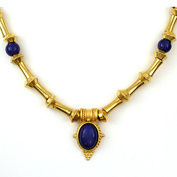 "Egyptian Revival Necklace w/Lapis 18"" - Museum Shop Collection - Museum Company Photo"