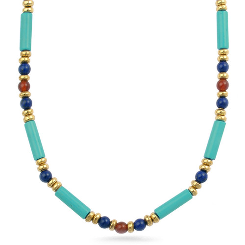 Egyptian Turquoise Tube and Lapis Necklace - Museum Shop Collection - Museum Company Photo