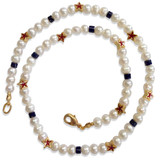 Red Star & Pearl Necklace with lapis - Museum Shop Collection - Museum Company Photo