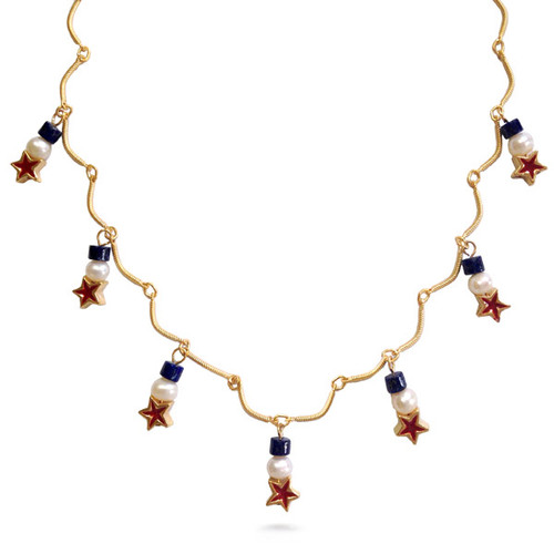 Red Star & Pearl Drop Necklace with lapis - Museum Shop Collection - Museum Company Photo