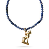 Cat Amulet on Petit sodalite beads - Museum Shop Collection - Museum Company Photo