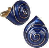 Blue enameled Sea shell cufflinks - Museum Shop Collection - Museum Company Photo
