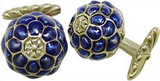 Tiffany inspired blue enameled quilted cufflinks, elegant cufflink backs - Museum Shop Collection - Museum Company Photo