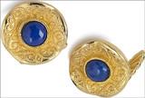 Byzantine cufflinks with Lapis, elegant cufflink backs - Museum Shop Collection - Museum Company Photo