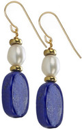 Egyptian Lapis & pearl earrings - Museum Shop Collection - Museum Company Photo