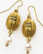 Scarab dangling earrings with pearls - Museum Shop Collection - Museum Company Photo