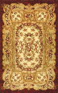 Savonnerie - Gold / Burgundy Rug : Persian Tufted Collection - Photo Museum Store Company
