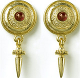 Greek - Spiral motif post earrings with garnet - Museum Shop Collection - Museum Company Photo