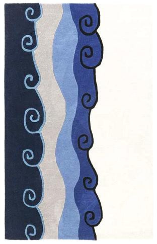 Malibu - Ivory / Navy Rug : Contemporary Tufted Collection - Photo Museum Store Company