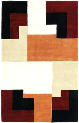 Nova - Taupe / Brick Rug : Contemporary Tufted Collection - Photo Museum Store Company