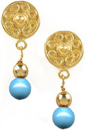 Pre Columbian Golden & Turquoise-shade earrings - Museum Shop Collection - Museum Company Photo