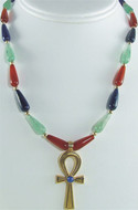 "16"" Multi-color Egyptian necklace, Ankh center - Museum Shop Collection - Museum Company Photo"
