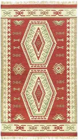 Double Diamonds - Rust / Taupe Rug : Wool Flat Weave Collection - Photo Museum Store Company