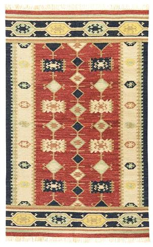 Nara Vista - Brick / Tan Rug : Wool Flat Weave Collection - Photo Museum Store Company