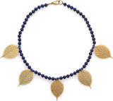"16"" Lapis necklace and 5 leaf motif charms - Museum Shop Collection - Museum Company Photo"