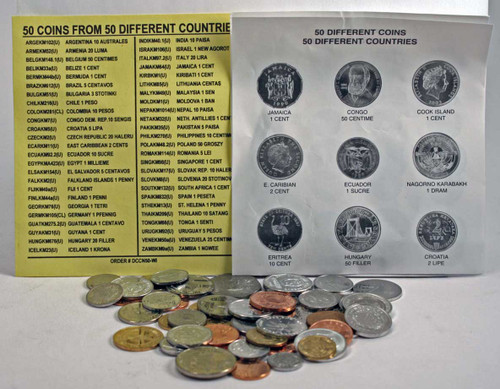 Genuine 50 Different Coins From 50 Countries : Authentic Artifact - Museum Company Photo