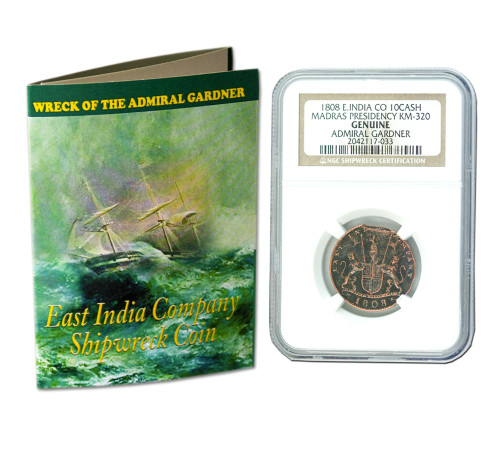 Genuine Admiral Gardner Shipwreck Treasure Coin NGC Certified Slab Clear Box (Medium grade) : Authentic Artifact - Museum Company Photo