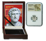 Genuine Antoninus Pius Roman Silver Denarius NGC Certified Slab Box (High grade) : Authentic Artifact - Museum Company Photo