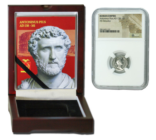Genuine Antoninus Pius Roman Silver Denarius NGC Certified Slab Box (Low grade) : Authentic Artifact - Museum Company Photo