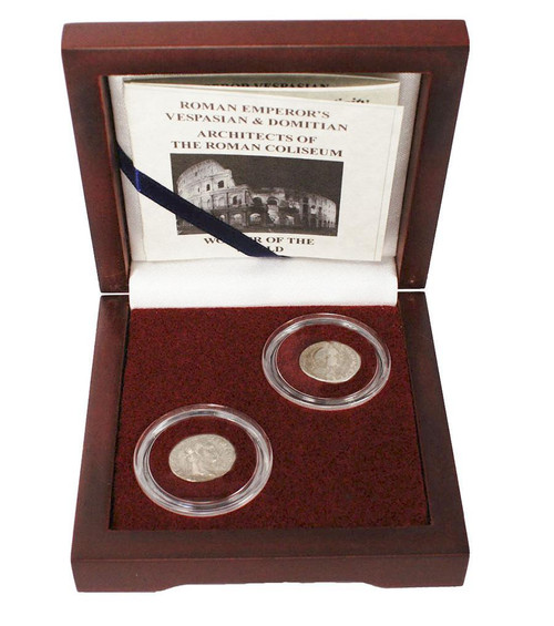 Genuine Architects Of The Roman Coliseum: Box of 2 Silver Coins : Authentic Artifact - Museum Company Photo