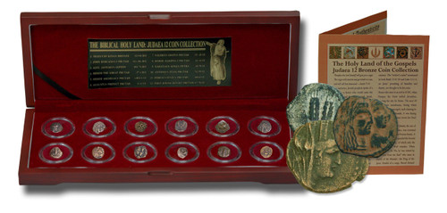 Genuine Biblical Holy Land: Box of 12 Ancient Judaea Coins fron the Time Of Jesus : Authentic Artifact - Museum Company Photo