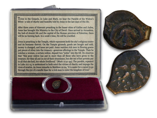 Genuine Biblical Widow's Mite: Bronze Coin of Judaea Clear Box  : Authentic Artifact - Museum Company Photo