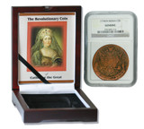 Genuine Catherine the Great 1776: Russian 5 Kopek in NGC-Certified Slab Box (Medium grade) : Authentic Artifact - Museum Company Photo