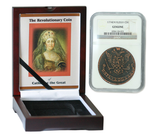 Genuine Catherine the Great: Russian 5 Kopek in NGC-Certified Slab Box (High grade) : Authentic Artifact - Museum Company Photo